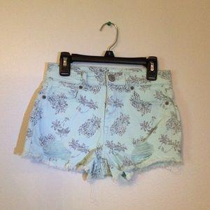 Blue Pineapple Print High Waisted Shorts